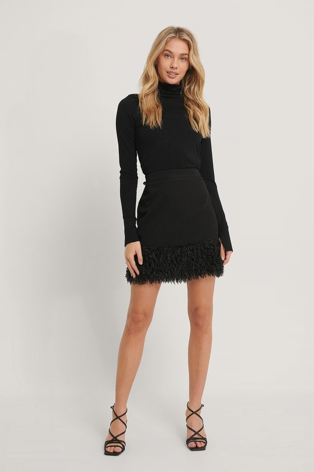 Faux Feather Skirt Outfit.