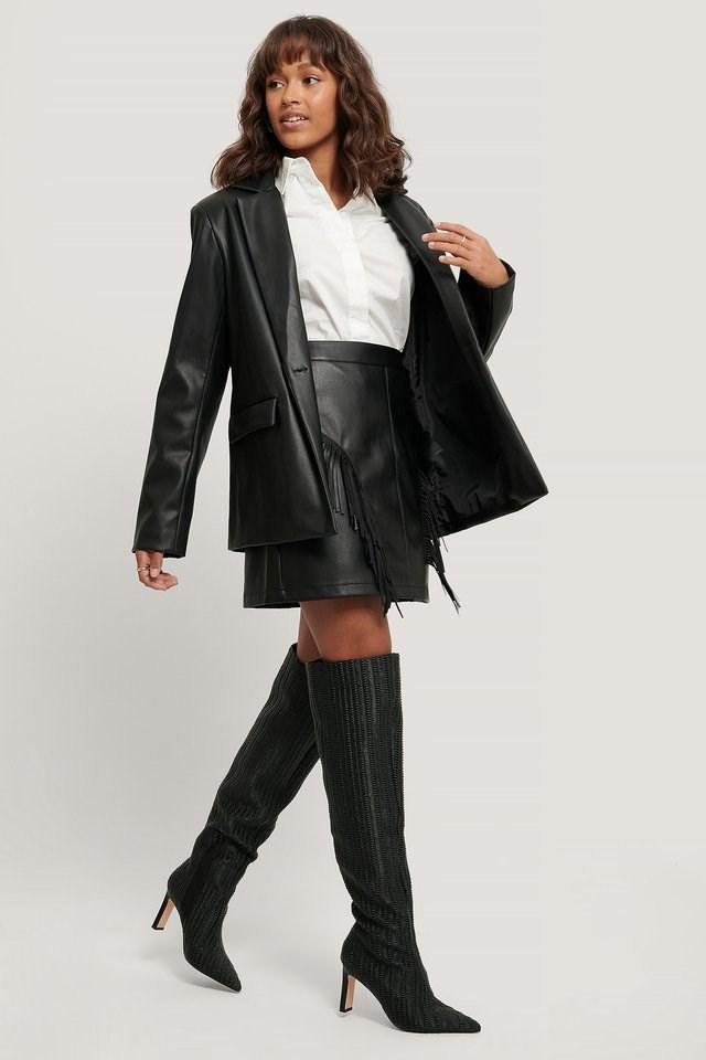 Fringe PU Mini Skirt Outfit.