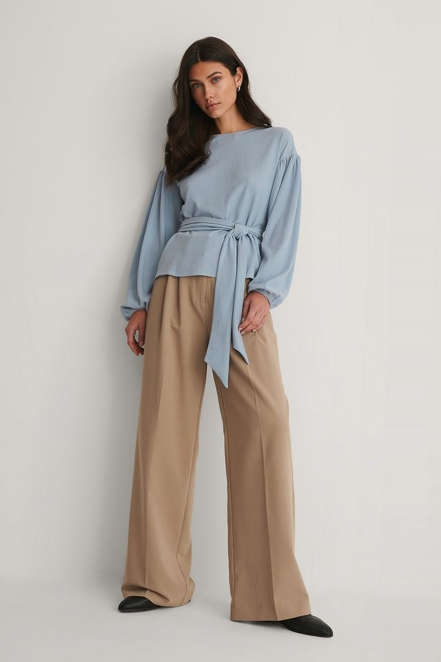 Crepe Belted Top Outfit.