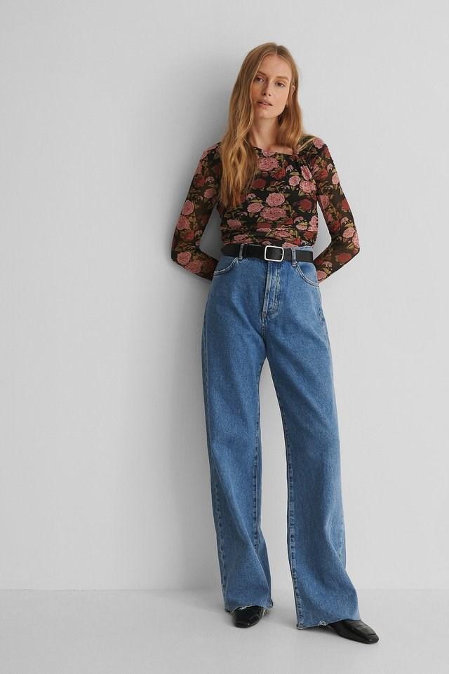 Asymmetric Neckline Mesh Top Outfit.