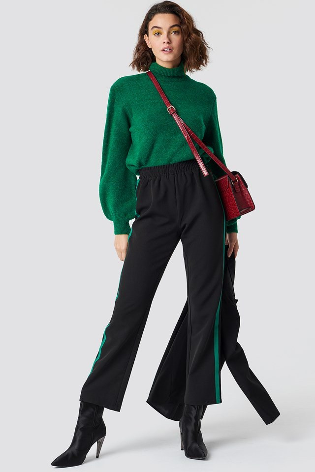 Trach Pants and High Neck Knit Outfit