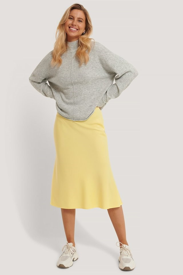 High Neck Dropped Shoulder Knitted Sweater Outfit.