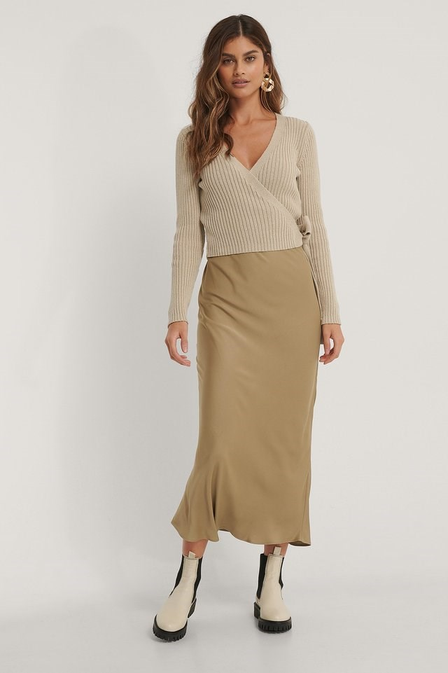 Organic Ribbed Knitted Overlap Sweater Outfit.