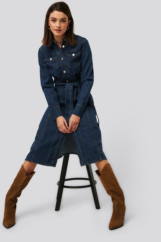 Midi Denim Dress Outfit.