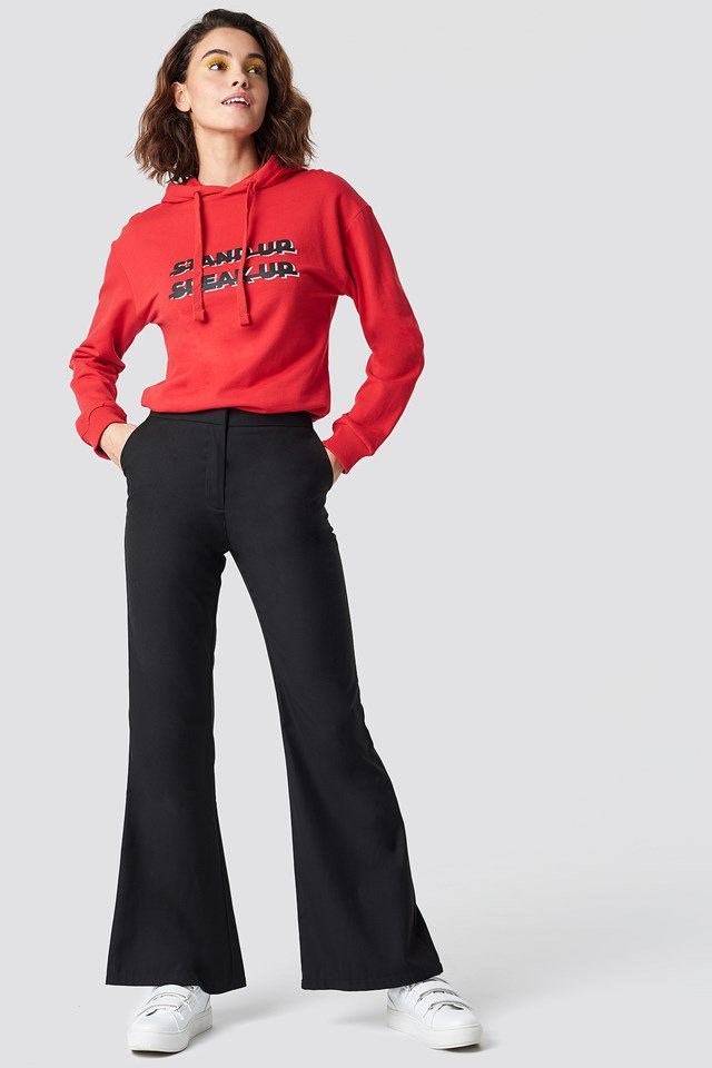 Casual Flared Pants and Hoodie Outfit