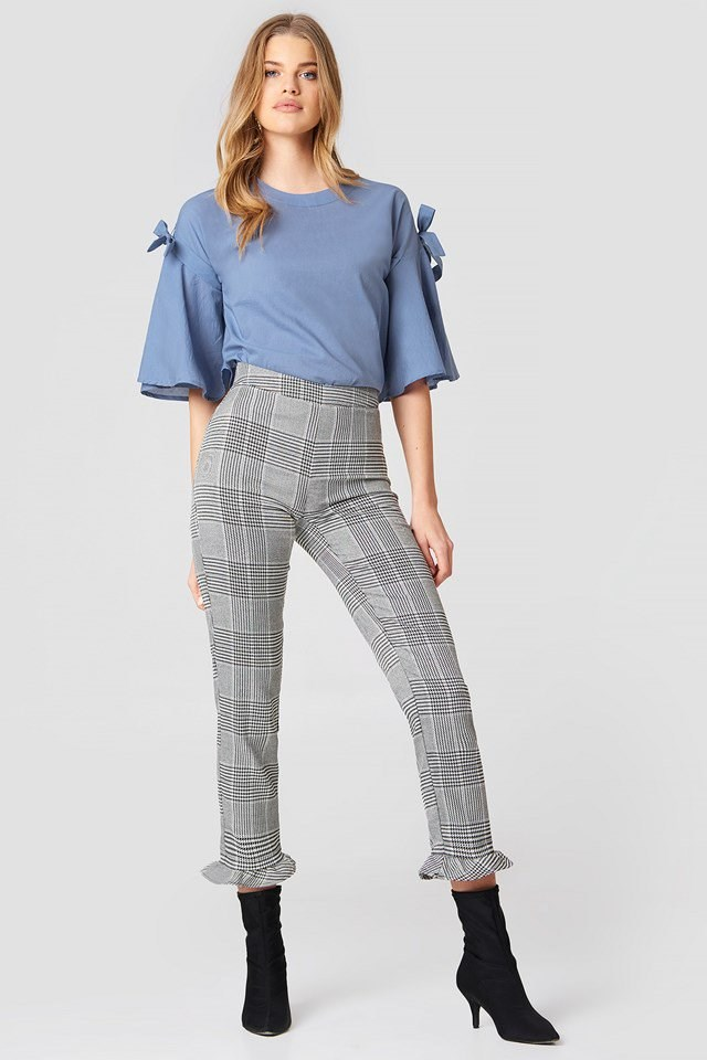 Trumpet Sleeve Blouse with High Rise Trousers