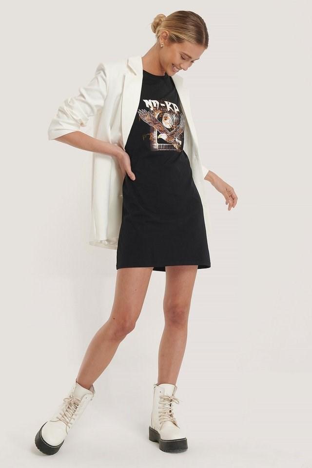 Bird Print T-Shirt Dress Outfit.