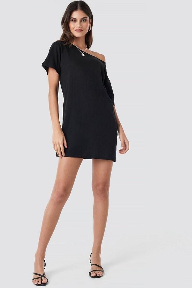 Black One Shoulder T-shirt Dress