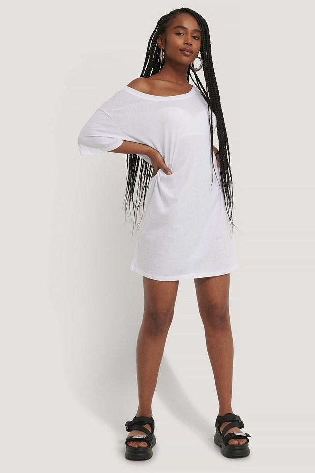 White One Shoulder T-shirt Dress