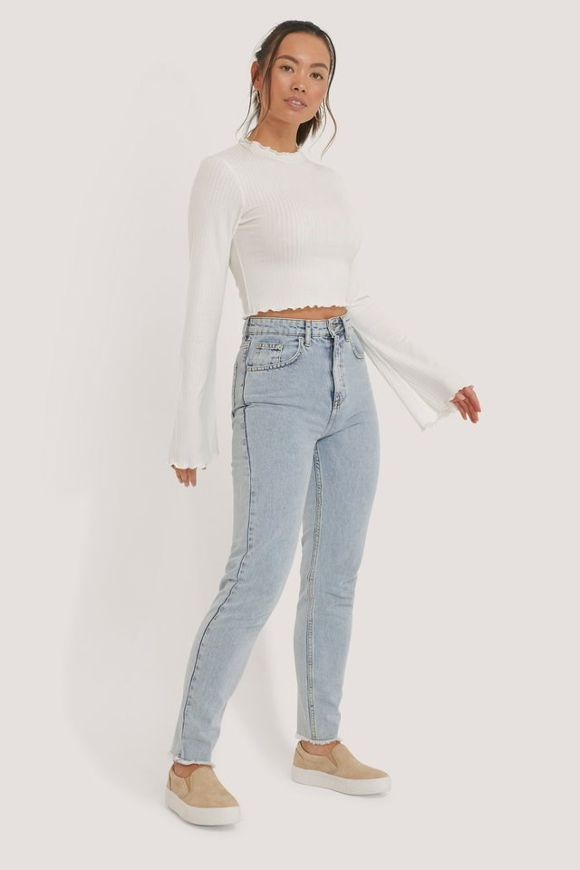 Ribbed Trumpet Sleeve Top Outfit.