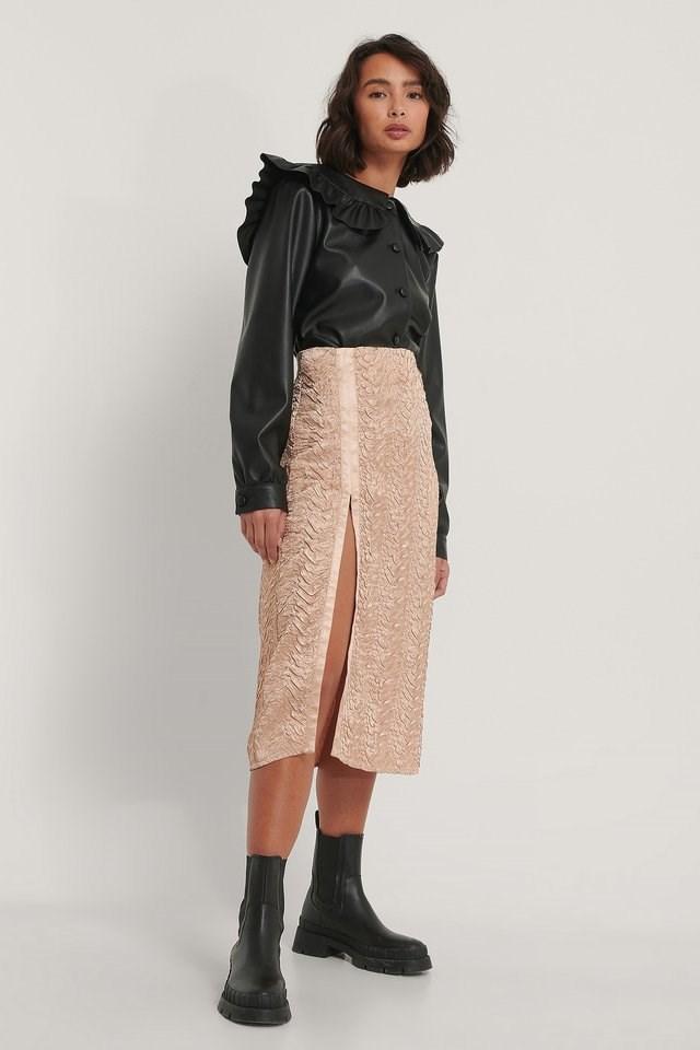 Beige Midi Satin Structured Skirt