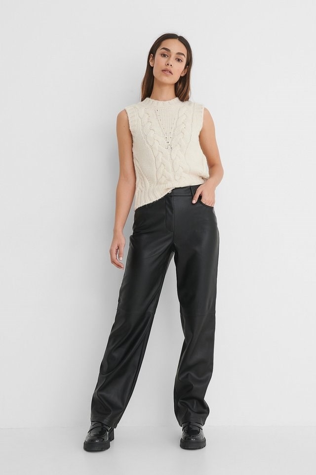 Straight PU Pants Outfit.