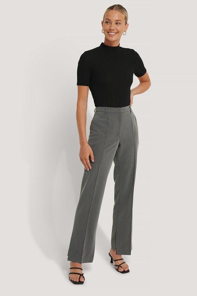 Side Slit Tailored Pants