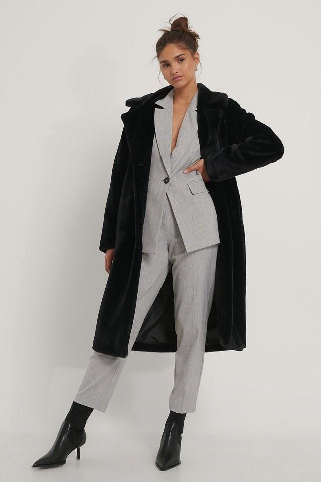 Long Belted Faux Fur Coat.