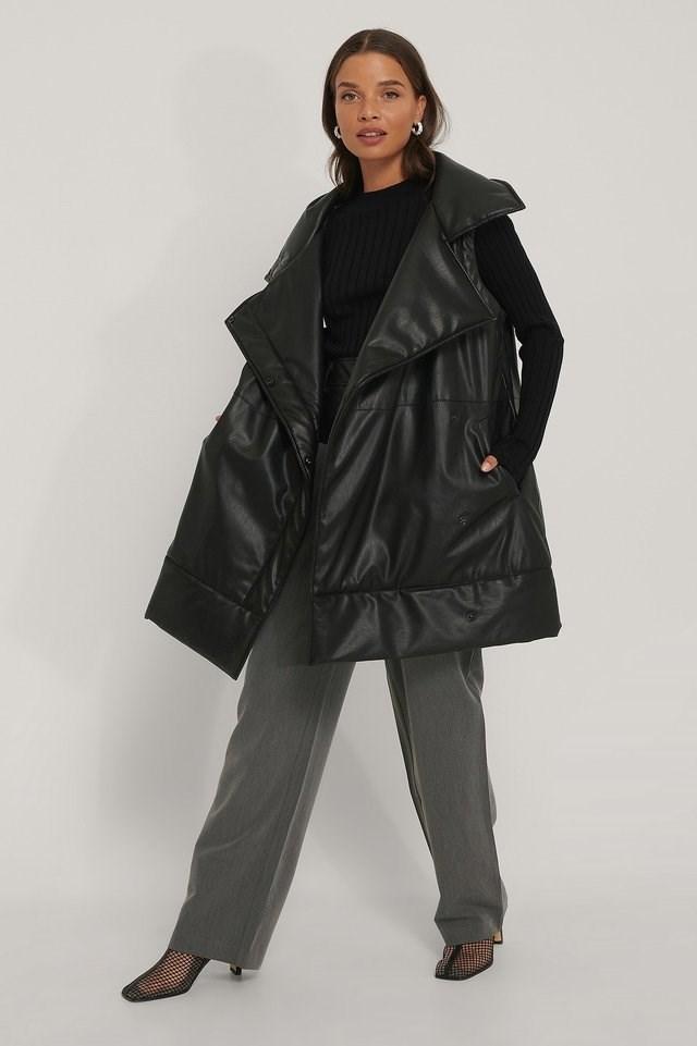 Oversized PU Vest Black.