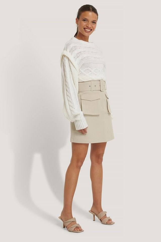 Twill Pocket Skirt Outfit.