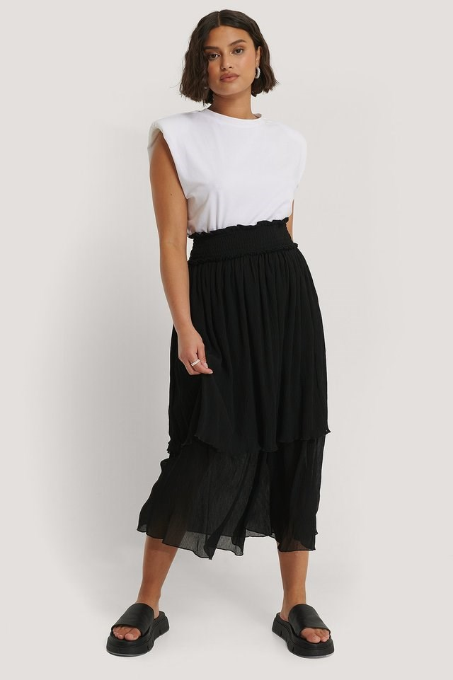 Structured Smocked Midi Skirt Outfit.