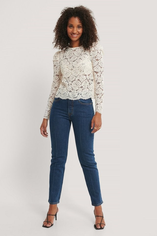 Round Neck Lace Blouse Outfit.