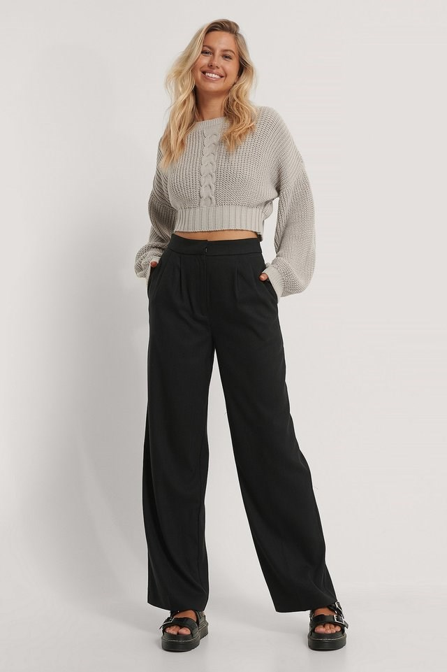 Cropped Cable Knit Sweater Outfit.