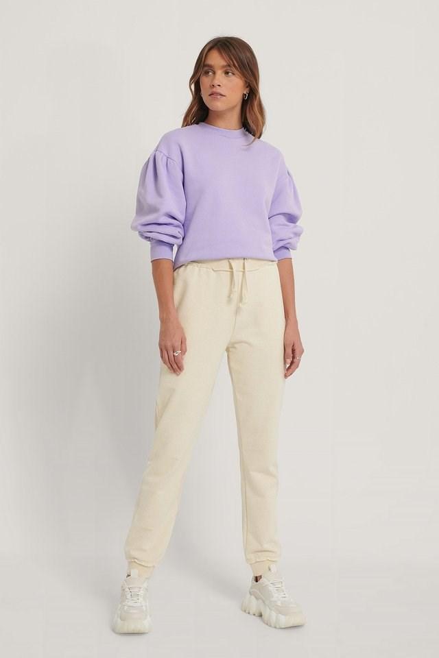 Puff Shoulder Sweatshirt Outfit.