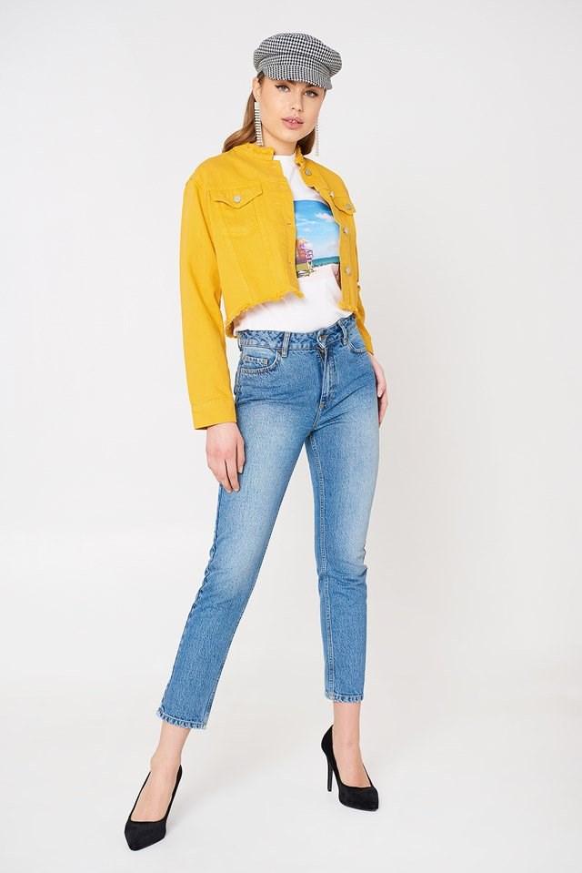 Raw Hem Colorful Denim Jacket