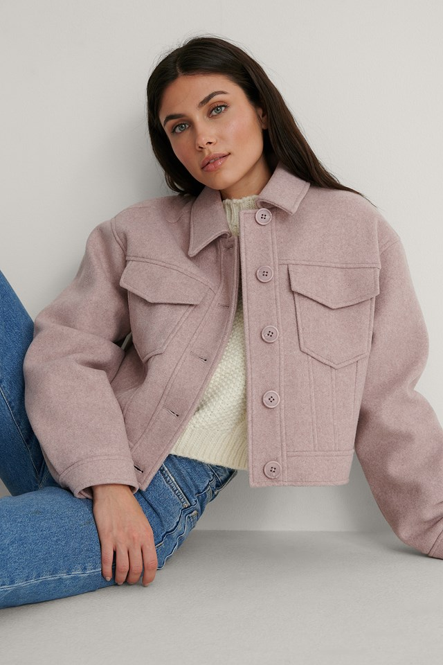Patch Pocket Short Jacket Outfit.