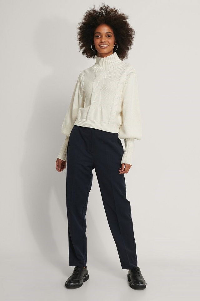 High Neck Knit Balloon Sleeve Sweater Outfit.