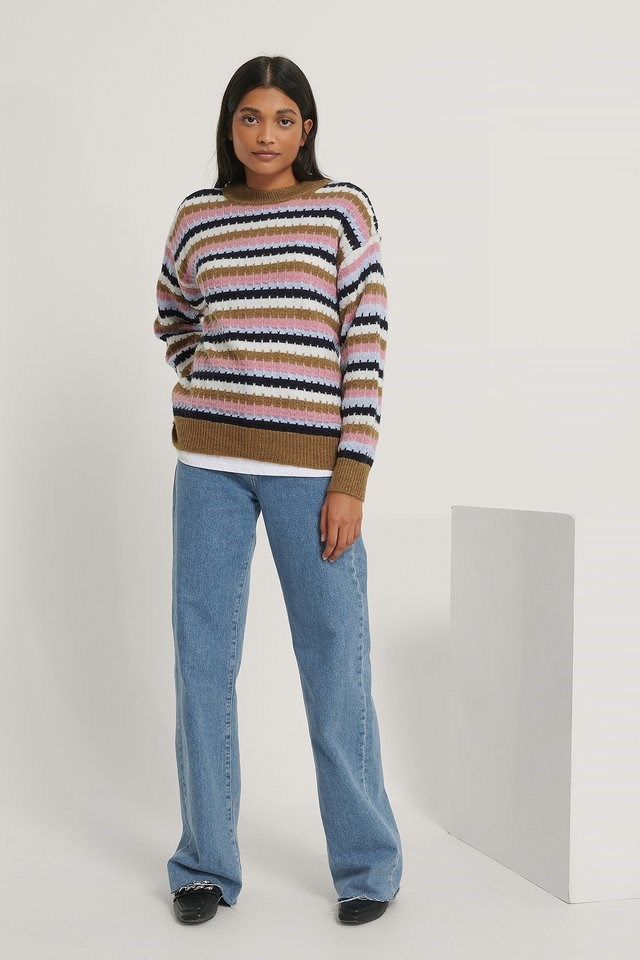 Multi Striped Sweater Outfit.