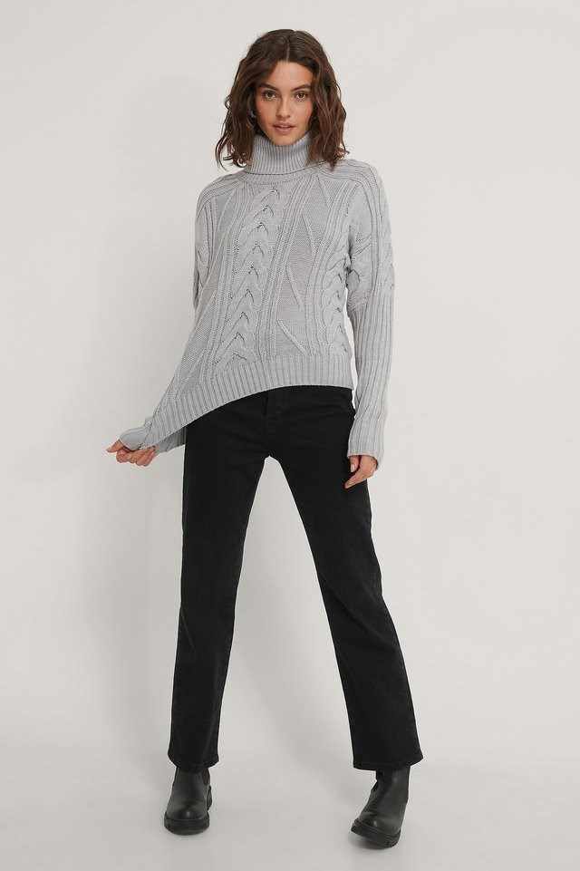 High Neck Cable Knit Sweater Outfit.