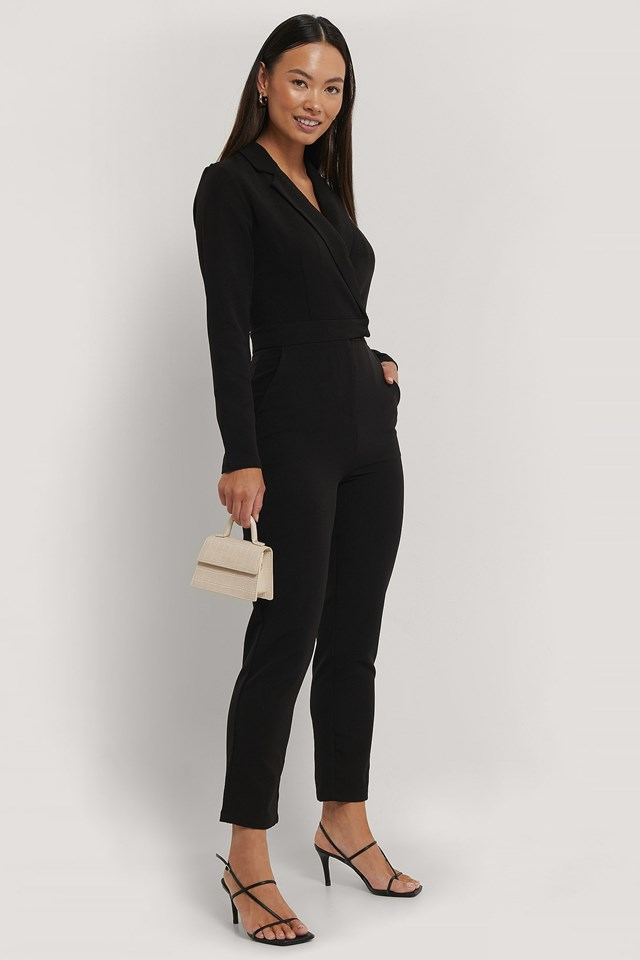 Overlap Collared Long Sleeve Jumpsuit Outfit.