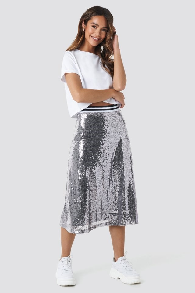 Sequin Midi Skirt Outfit.