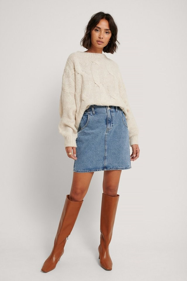 Paperbag Denim Skirt Outfit.