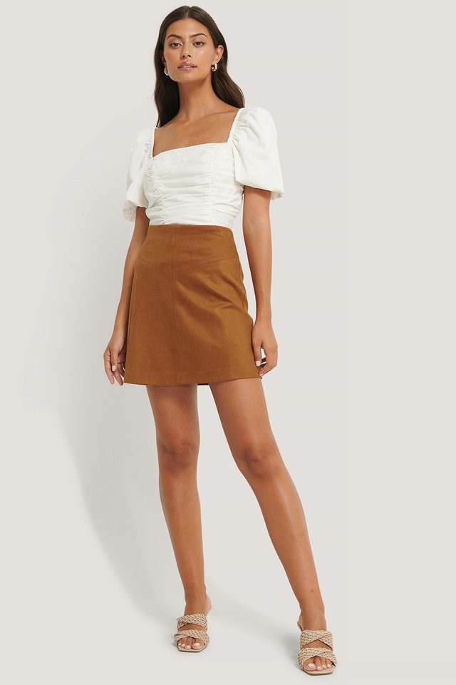 Mini Suede Skirt Outfit.