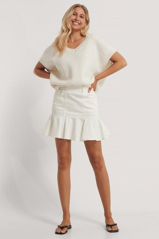 Frill Denim Skirt Outfit.