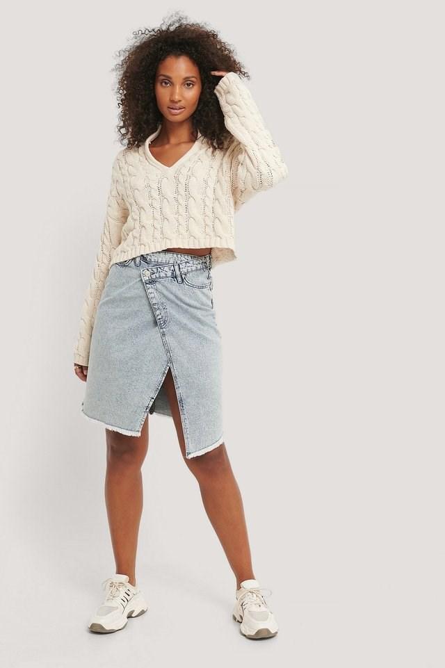 Asymmetric Denim Skirt Outfit.