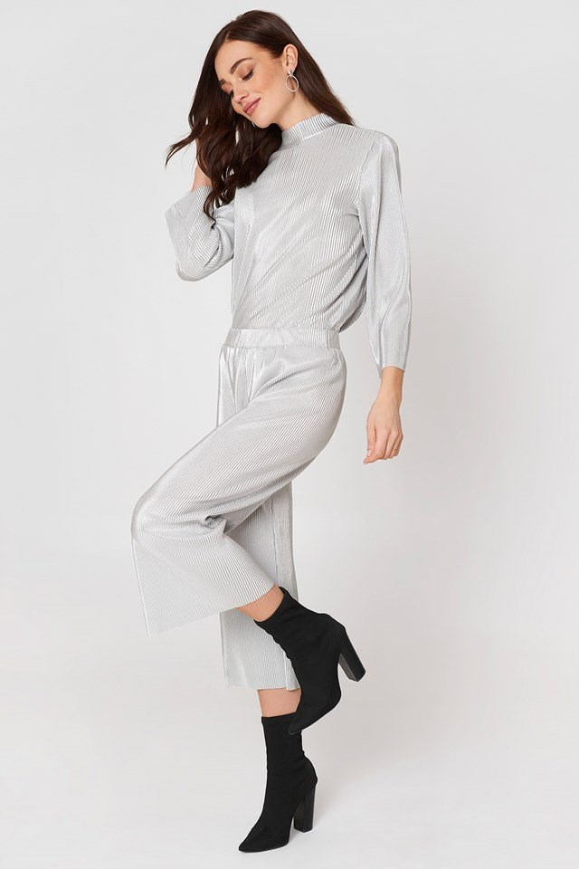 Pleated Blouse and Trouser Set