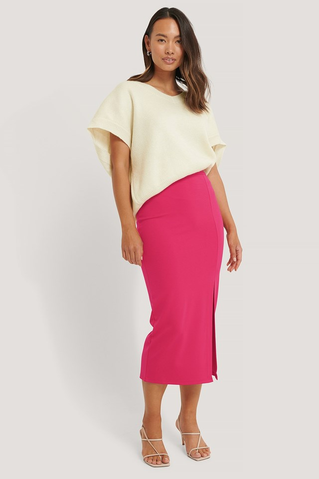 Fuchsia Side Slit Jersey Skirt