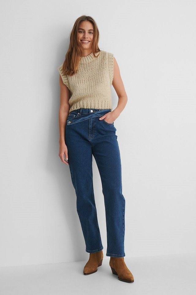 Waist Detail Straight Jeans Outfit.