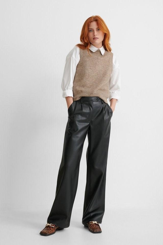 Wide Leg PU Pants Outfit.