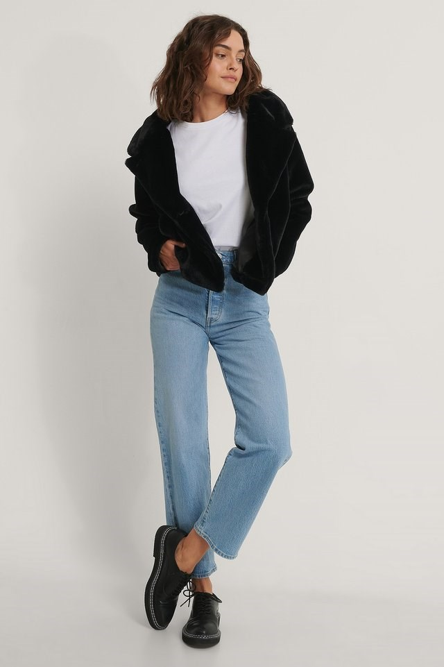 Fluffy Faux Fur Jacket Black.