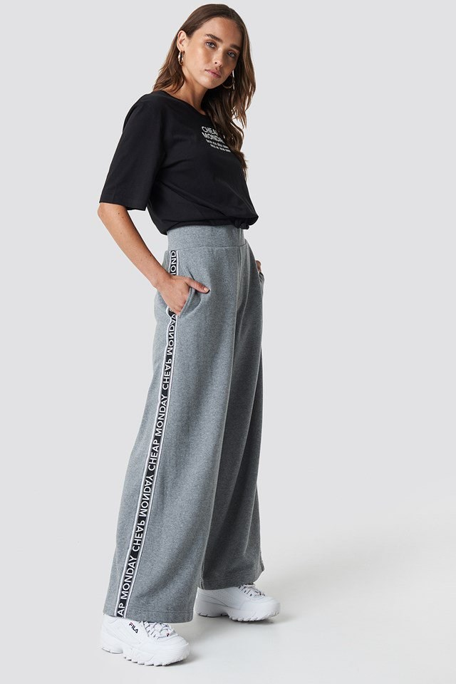 Sporty Pants and Black Statement T-Shirt Outfit