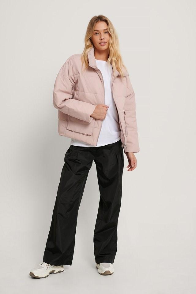 Big Pocket Padded Short Jacket Pink.