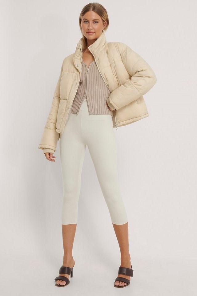 Short Padded Zipped Jacket Beige.