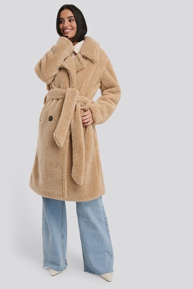 Belted Long Teddy Coat Beige.