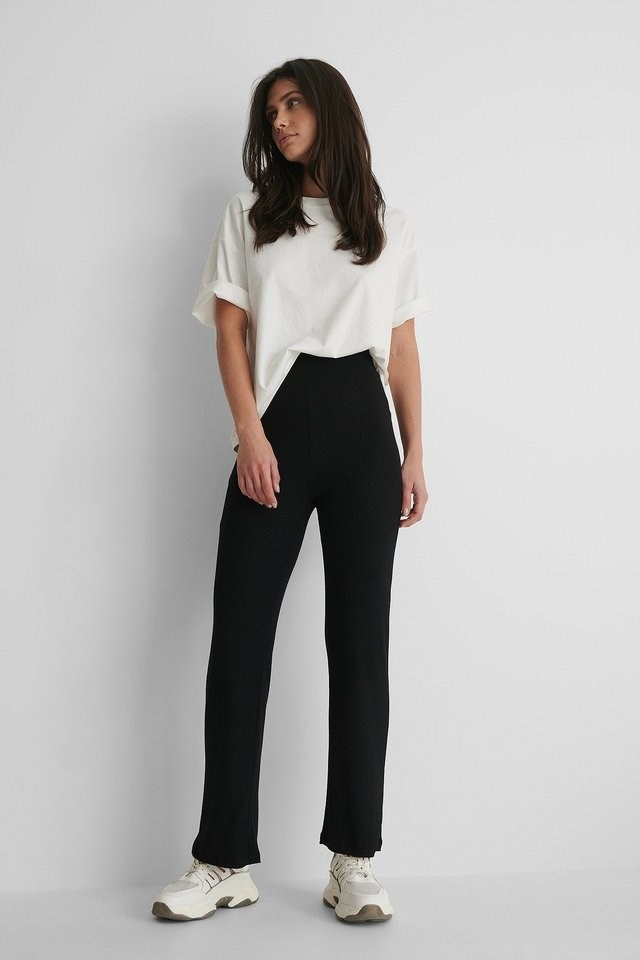 High Waisted Ribbed Pants Outfit.