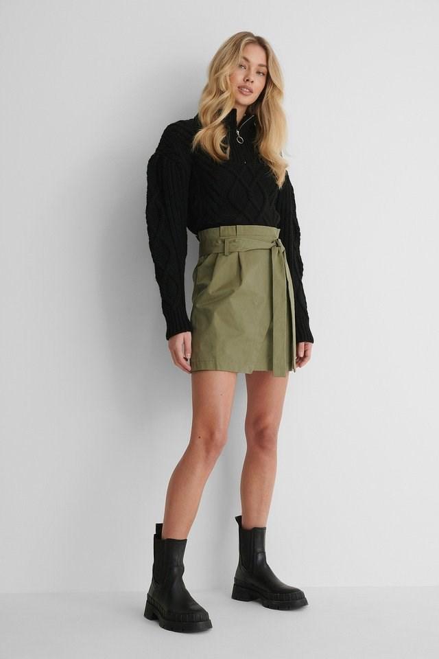Tie Waist Cargo Skirt Outfit.