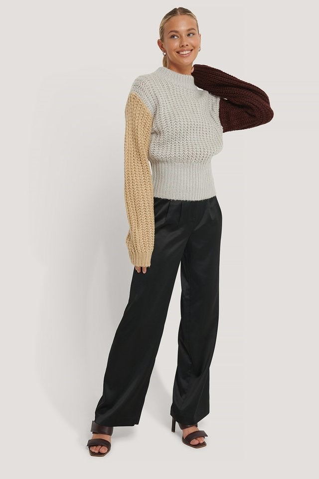 Three Color Knitted Sweater Outfit.