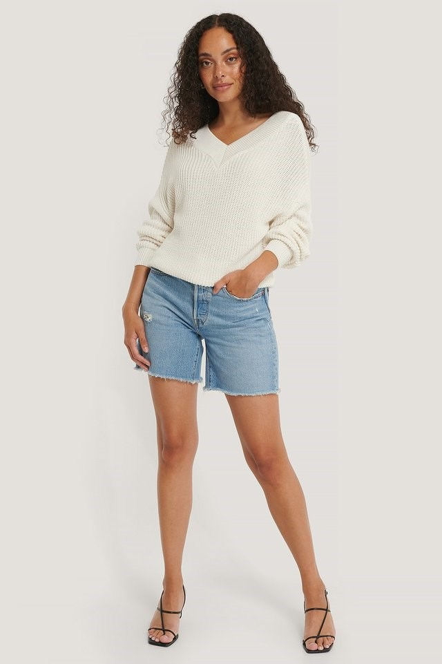 Organic V-neck Rib Knitted Sweater Outfit.