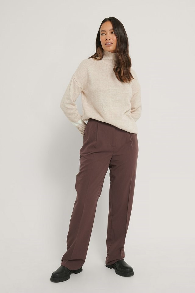Sleeve Detail High Neck Sweater Outfit.