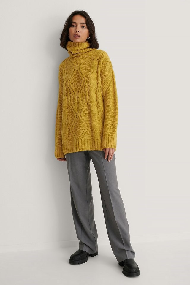 Cable Knit Polo Sweater Outfit.